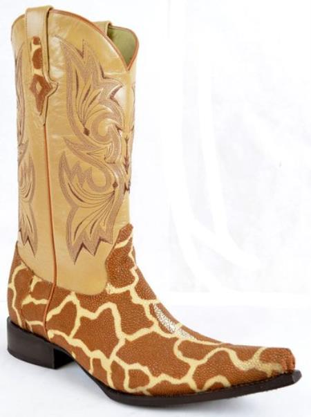 Stingray Skin Western Boot Original With Giraffe Print