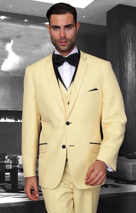 SKU#PN12 Mens Unique Bright Colorful Tuxedo Or Suit Lapelled Suit  Vested 3 Pieces Black Trimmed Lapel Yellow $199