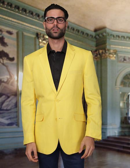 Mens 2 Button Cool Linen Fabric Jacket Summer Blazer Sport coat ...