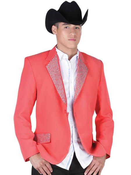 SKU#PN45 Blazer / Sport Coat Jacket Tela/Pedreria Orange $199