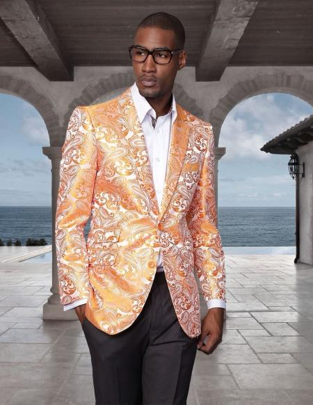 SKU#PN-W62 Floral Mens Satin Shiny Tuxedo Dinner Jacket Blazer Paisley Sport Coat Sequin Shiny Flashy Silky Satin Stage Fancy Stage Party Party Dance Jacket Orange ~ Peach $225