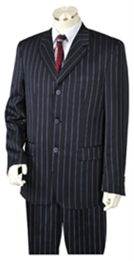 New 1940's Style Zoot Suits for Sale Bold Chalk Pronounce Gangster Pinstripe 3 Button Vested Wide Leg Pants 34 Inch Jacket Notch Collar Navy-blue $199.00 AT vintagedancer.com