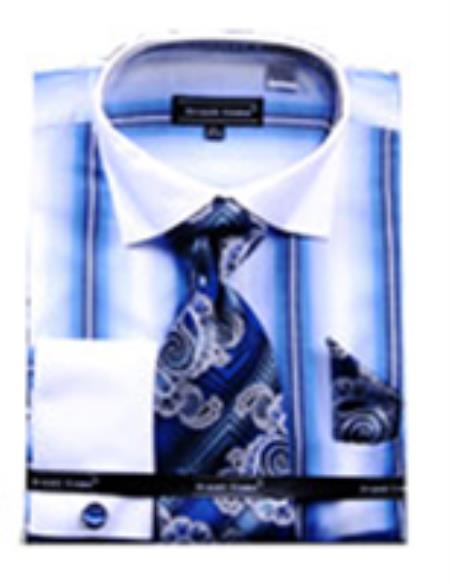 SKU#PN25 Mens Stripe Pattern Two Tone French Cuff Shirt With Cuff Link Blue $65