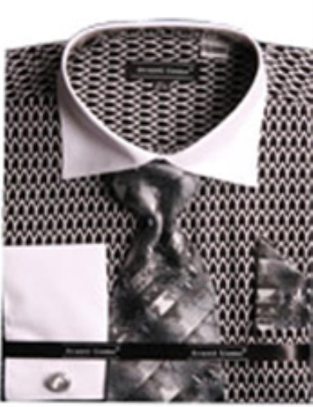 SKU#PNC55 Mens Printed Two Tone French Cuff Shirt With Cufflinks Black/White