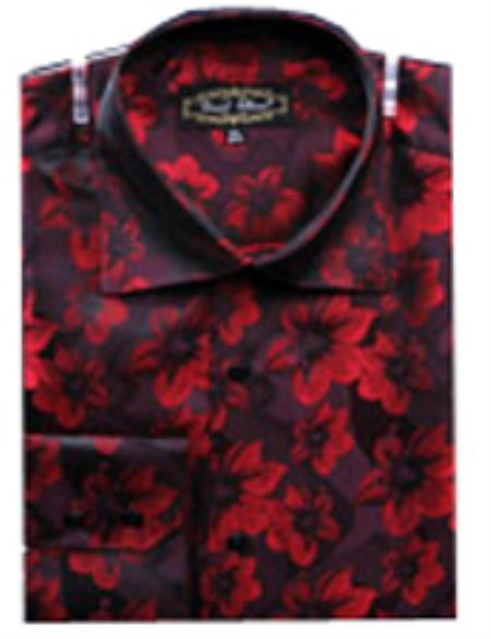 SKU#PN-I62 Mens Fancy Shirts Red(100% Polyester) Flashy Shiny Satin Silky Touch