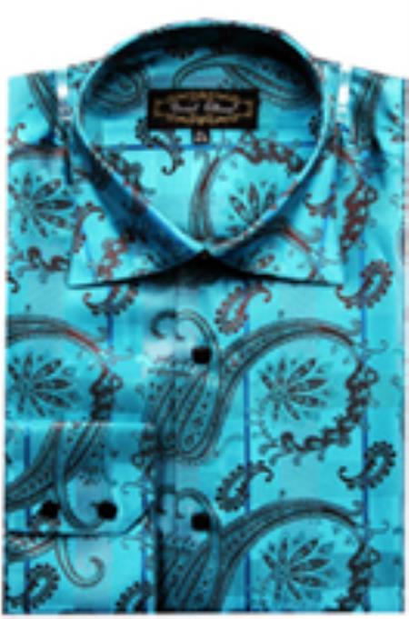 SKU#PN_I66 Mens Fancy Shirts Blue (100% Polyester) Flashy Shiny Satin Silky Touch