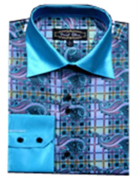 SKU#PN38 Mens Fancy Shirts Olive(100% Polyester) Flashy Shiny Satin Silky Touch $65
