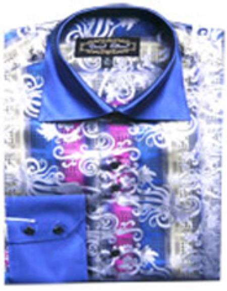 SKU#PN40 Mens Fancy Shirts Blue/White (100% Polyester) Flashy Shiny Satin Silky Touch $65