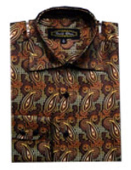 SKU#PN_E68 Mens Fancy Shirts Brown (100% Polyester) Flashy Shiny Satin Silky Touch