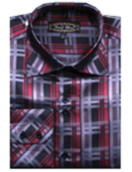 SKU#PN-U68 Mens Fancy Shirts Red/Black(100% Polyester) Flashy Shiny Satin Silky Touch