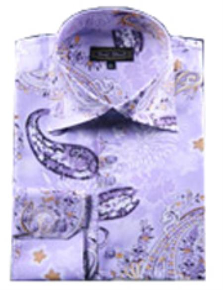 SKU#PN48 Mens Fancy Shirts Purple (100% Polyester) Flashy Shiny Satin Silky Touch $65