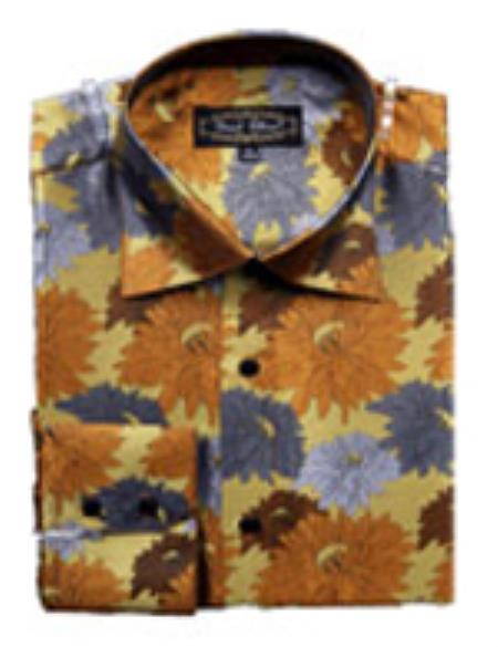 SKU#PN62 Mens Fancy Shirts Brown $65