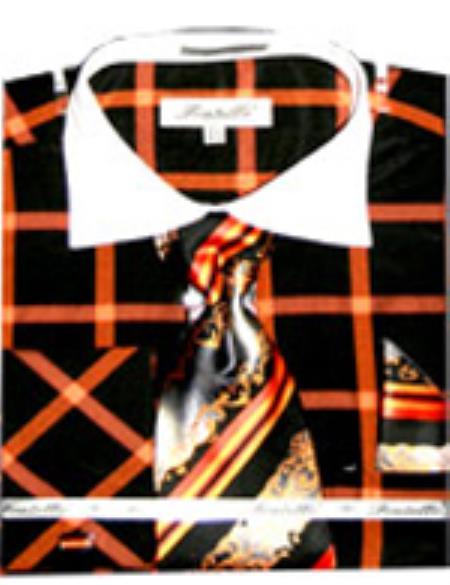 SKU#PN-H05 Mens Checker Pattern French Cuff Shirt With Cuff Links Black