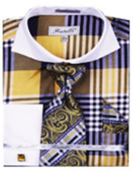 SKU#PN-K66 Mens Fancy Shirts Blue White Collar Two Toned Contrast