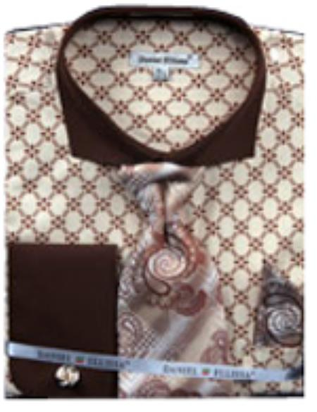 SKU#PN70 Mens Checker Pattern French Cuff Shirt With Cuff Links Brown $65