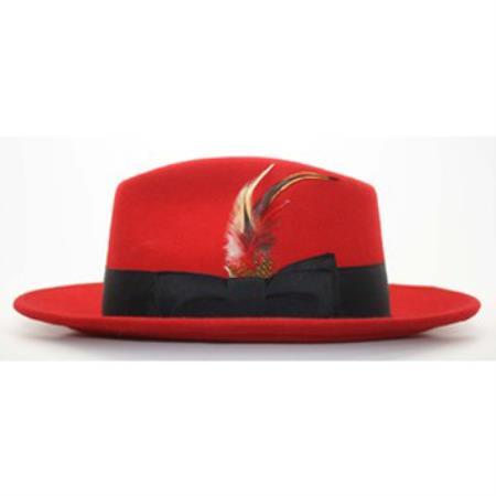 Sku Pn B52 Men S Red Black Fedora Hat
