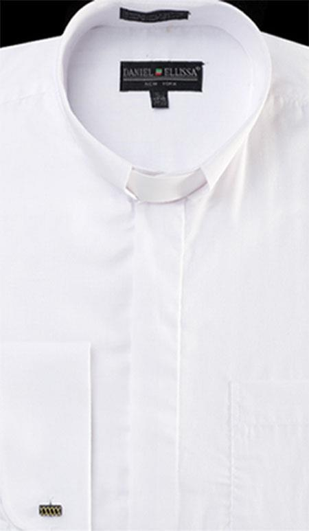 Men S White Banded Collar Clergy Dress Shirts Mandarin