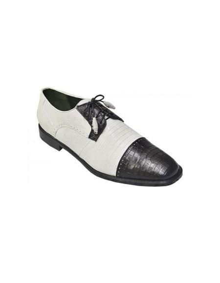 Los Altos White / Black Genuine Crocodile ~ World Best Alligator ~ Gator Skin Belly & Lizard Oxford Shoes Perfect for Men