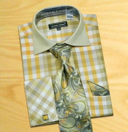 Olive gold white check design shirt tie hanky set with for Dress shirt for cufflinks