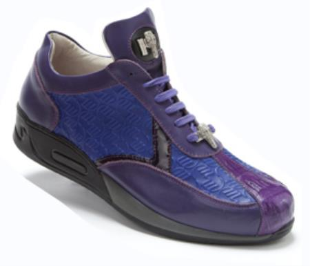 Violet Genuine Crocodile Nappa Embossed Patent Leather Sneakers