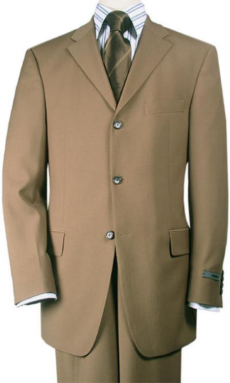 SKU#TT43 Mocha~Chestnut~Carmel Premier Quality Italian Fabric Wool Feel Poly~Rayon Suit Pleated Pant