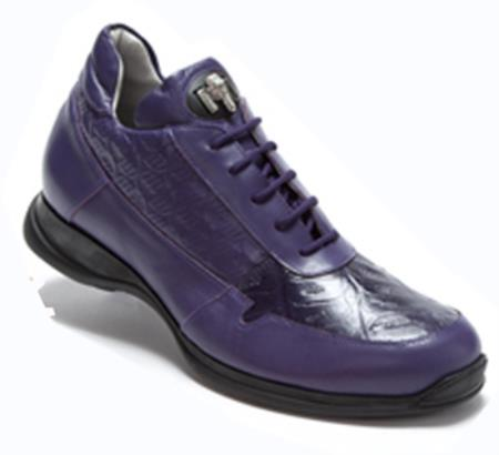 Purple Genuine Nappa Embossed Crocodile Sneakers