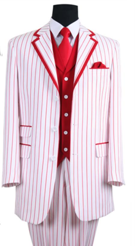 SKU#PN34 Mens 3 Button Single Breasted 35 Inch White/Red Seersucker Pinstriped Tuxedo Look Vested 3 Piece $149