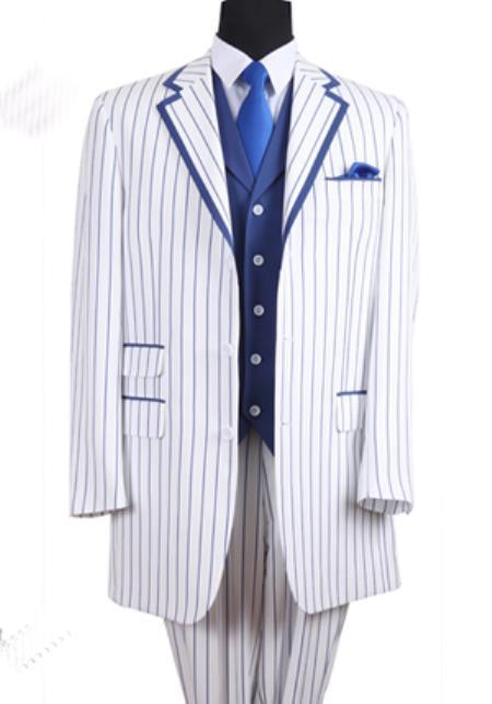 SKU#PNL66 Mens 3 Button Single Breasted 35 Inch White/Blue Seersucker Pinstriped Tuxedo Look Vested 3 Piece
