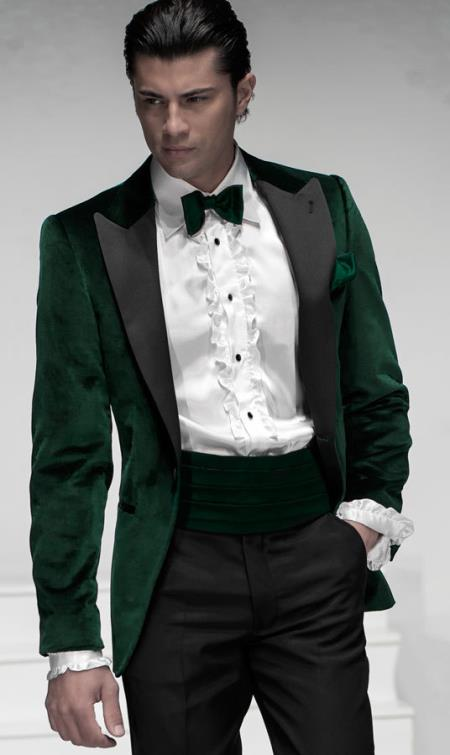 SKU#PN80 Custom Made Mens Velvet ~ Velour Suit & Tuxedo & Sportcoat & Blazer (Matching Pants) Satin Collar Green $895