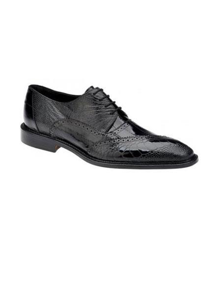 Authentic Genuine Skin Italian Nino Black Genuine Eel / Ostrich Leg Shoes