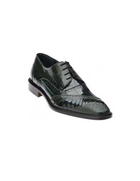 Belvedere Nino Dark BLACK Genuine Eel / Ostrich Leg Shoes