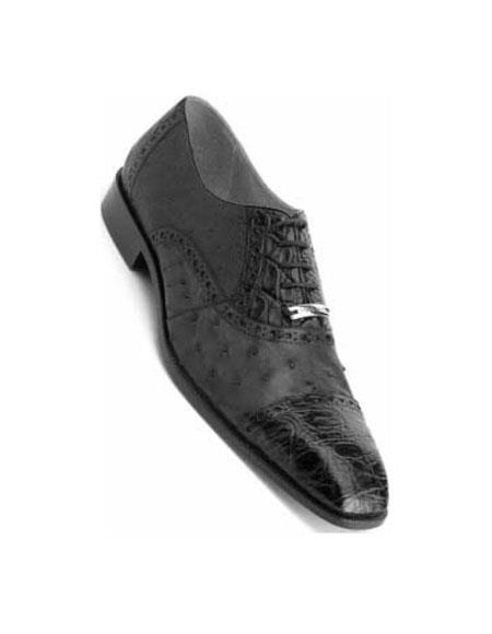 Belvedere Onesto II Black Genuine Ostrich / Crocodile ~ World Best Alligator ~ Gator Skin Shoes