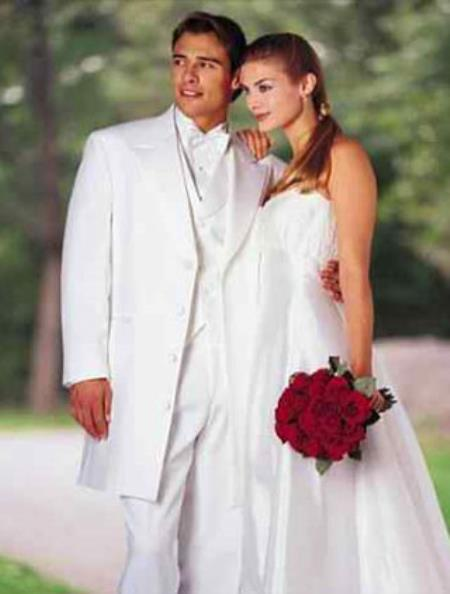 SKU# 287 Classic Modern Longer 36 Inch White zoot Tuxedo For Men
