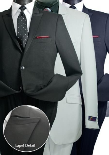 SKU#PN96 Mens Italian Design 2 Button Slim Cut Suit Black,Navy,White & Grey