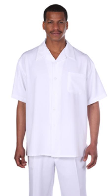 Milano Moda Solid White Short Sleeve Casual Sets $89.00 AT vintagedancer.com