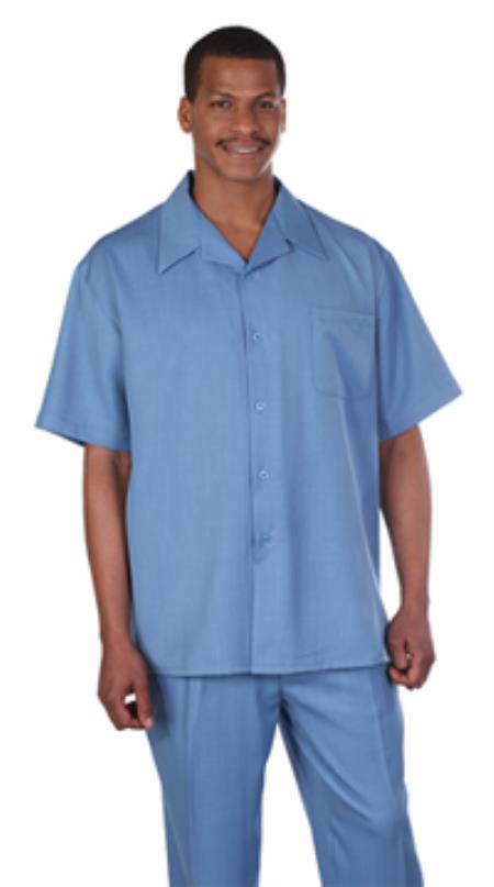 1930s Style Mens Shirts Milano Moda Solid Blue Short Sleeve Casual Sets $89.00 AT vintagedancer.com