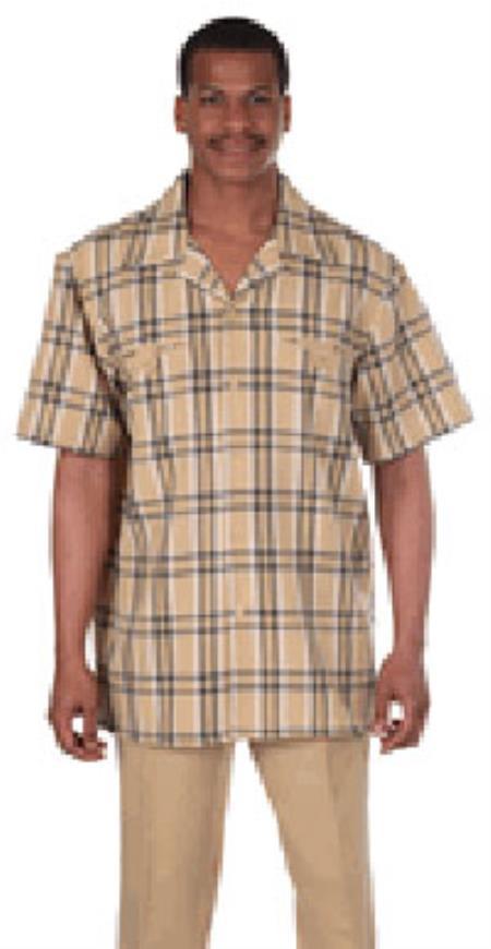 Milano Moda Gold Plaid Short Sleeve Casual Sets $89.00 AT vintagedancer.com