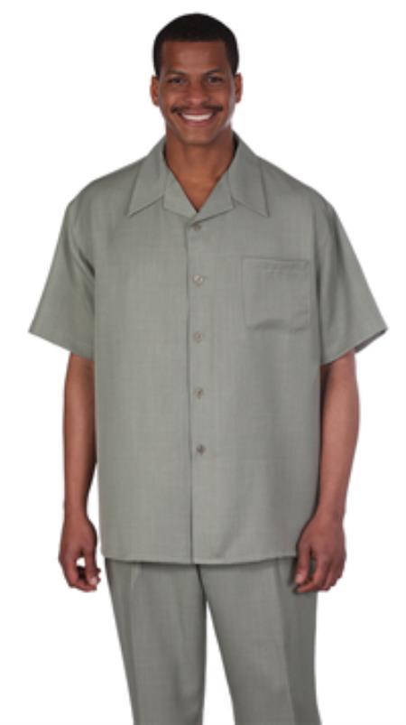 Milano Moda Solid Olive Short Sleeve Casual Sets $89.00 AT vintagedancer.com
