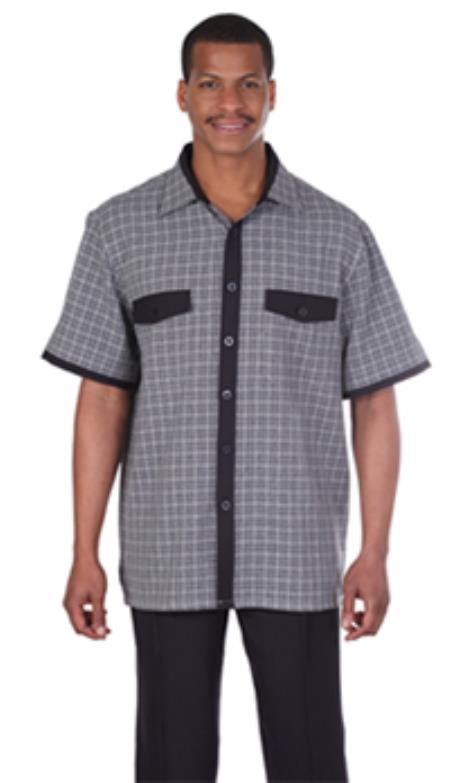Milano Moda Black Plaid Short Sleeve Casual Sets $89.00 AT vintagedancer.com