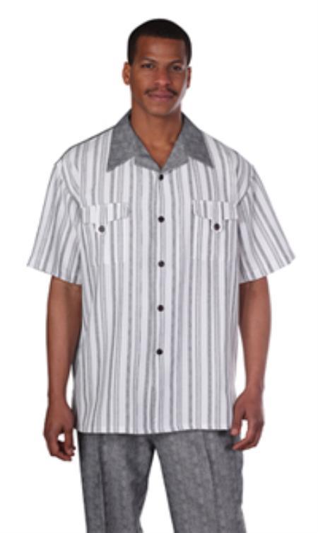 Milano Moda Black Fashion Stripe Short Sleeve Casual Sets $89.00 AT vintagedancer.com