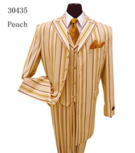SKU#PN30 Milano Moda Peach Fashion Stripe Long Jacket Zoot Suit $149