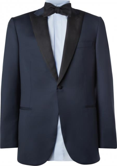 Downtown Blue  Black Peak Lapel $445.00 AT vintagedancer.com