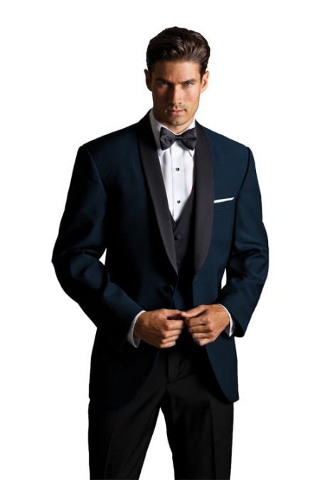 SKU#PN_L71 Formal Suit Black Lapeled Midnight Navy Blue Tuxedo with Black Pants $300