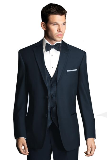 SKU#PN54 Formal Suit Black Lapeled Midnight Blue Tuxedo with Satin Framed Lapel $445