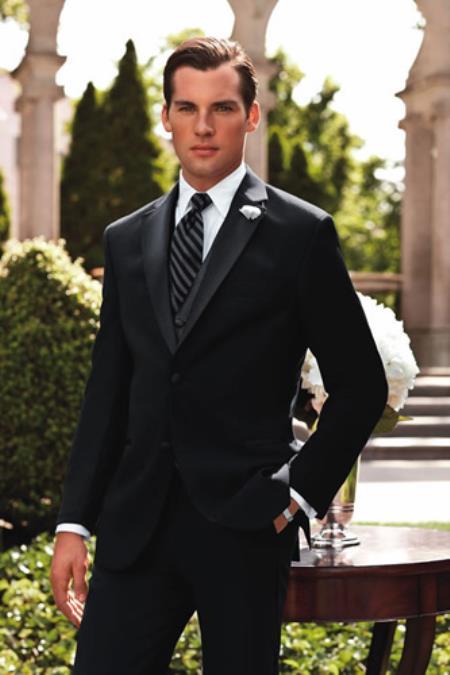 SKU#PN74 Ralph Lauren Black Cristal Big and Tall Two Button Tuxedo