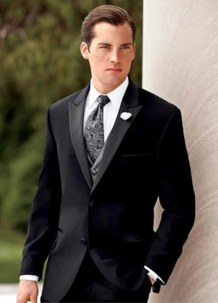 SKU#PN78 Ralph Lauren Black Moet Big and Tall Two Button Tuxedo $275