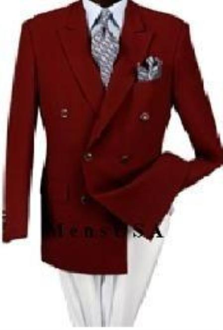 SKU# HVV292 Z762TA Burgundy 6 on 2 Style Colser Double-Breasted Performance Blazer Jacket Coat $499