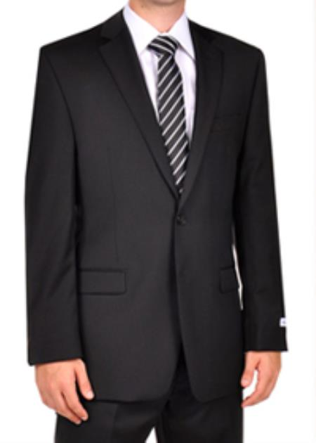 SKU#PNZ19 Calvin Klein Black Slim Fit Dress Suit