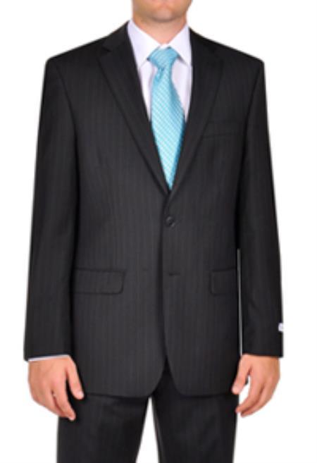 SKU#PN_F47 Calvin Klein Black Stripe ~ Pinstripe Slim Fit Dress Suit $220