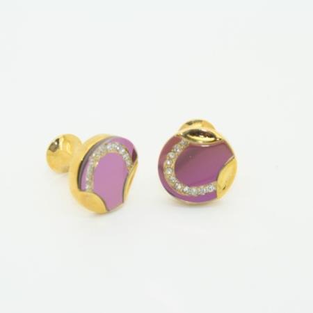 SKU#PN_H16 Golden Enamel Crystal Onyx Cufflinks Set Purple